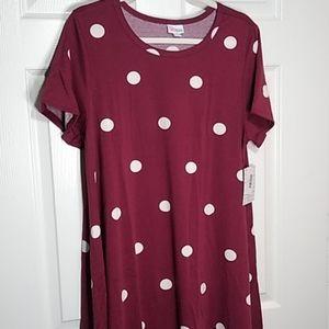 NWT XL LULAROE CARLY HI-LO SWING DRESS ~ POLKA DOT